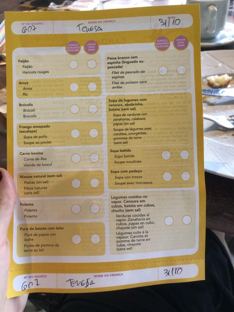 refeição de bebês no Club Med